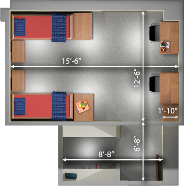 A 2d layout view with the dimensions of a double room in Smith.