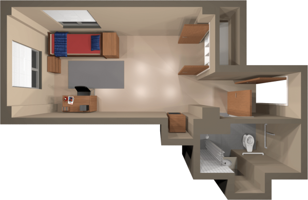 A 2d layout view of a single room in Smith.