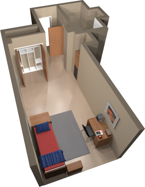 A 3d layout view of a single room in Smith.