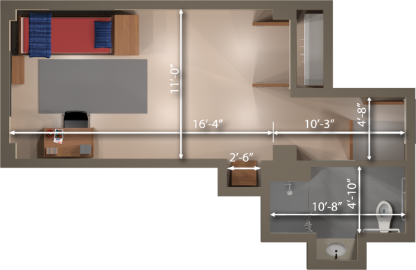 A 2d layout view with the dimensions of a single room in Smith.