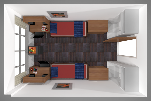A 2d layout view of a double room in Sullivan.