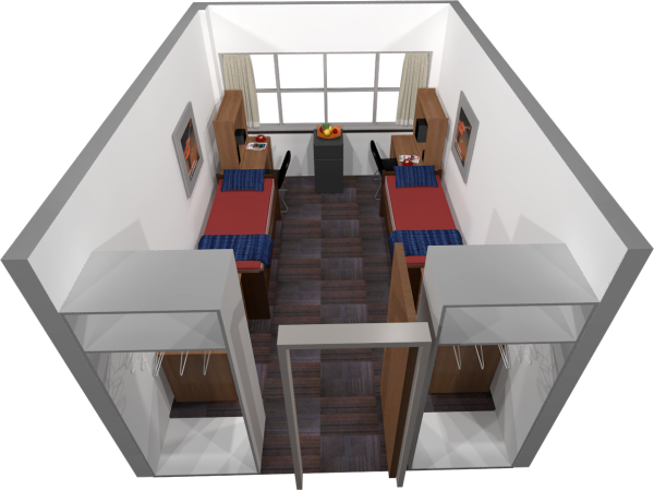 A 3d layout view of a double room in Sullivan.