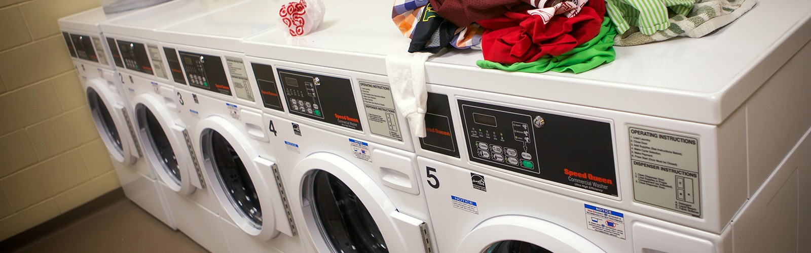 Laundry room in Dejope Residence Hall