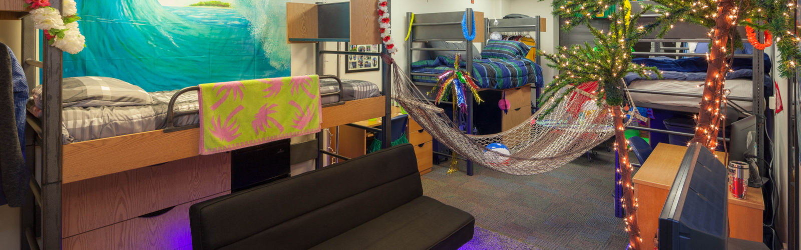 An expanded housing room in Ogg Residence Hall