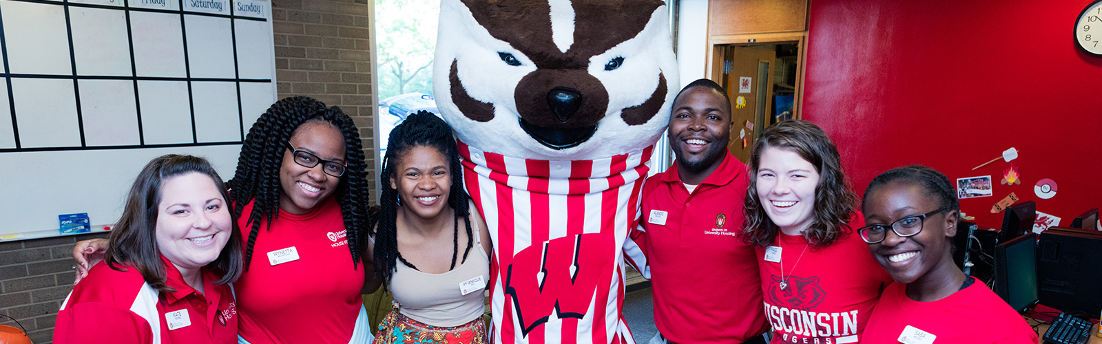 Bucky Badger with Residence Life staff