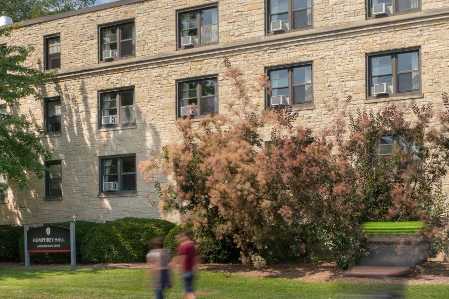 An exterior view of Humphrey Residence Hall