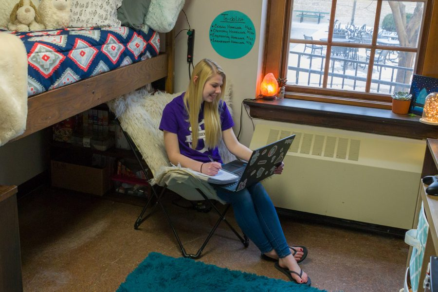 Students in a resident room in Tripp Hall