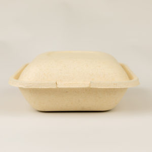A compostable to-go container from Dining