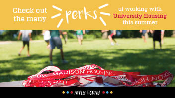 Feature photo advertising perks of working with University Housing as a student employee in the summer