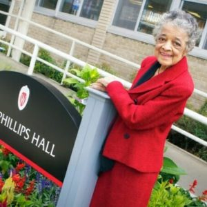 Vel Phillips standing in front of Phillips Residence Hall
