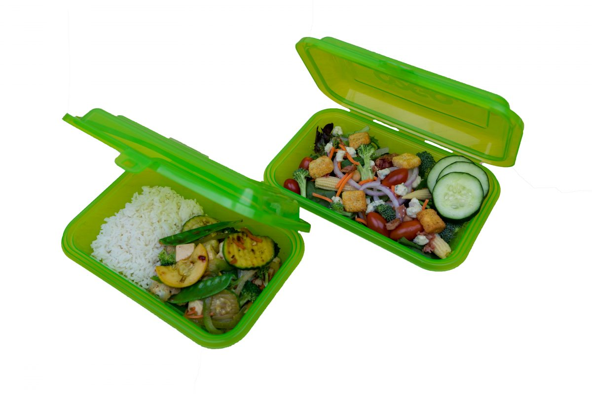 Photo of reusable to-go food containers from the Ticket to Takeout program