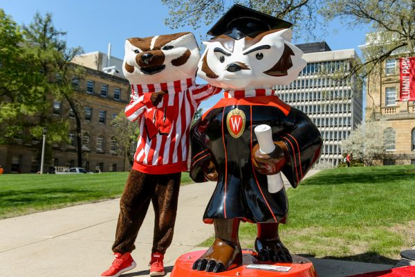 "Bucky Badger stands next to the ""Graduation Bucky"" statue"